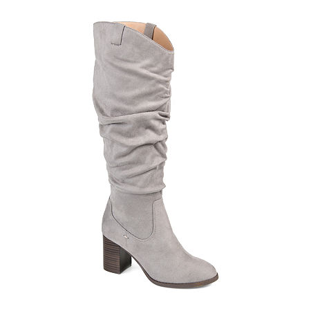 Journee Collection Womens Aneil Extra Wide Calf Stacked Heel Over the Knee Boots, 7 Medium, Gray