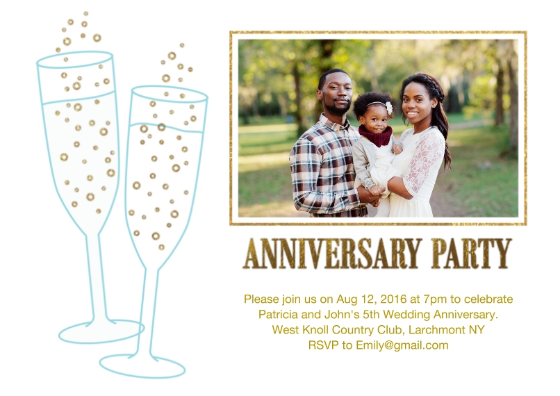 Anniversary Flat Glossy Photo Paper Cards with Envelopes, 5x7, Card & Stationery -Anniversary Party Champagne Glasses