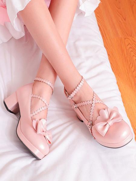 Milanoo Sweet Lolita Pumps Bows Punta redonda Zapatos de cuero de Lolita de PU