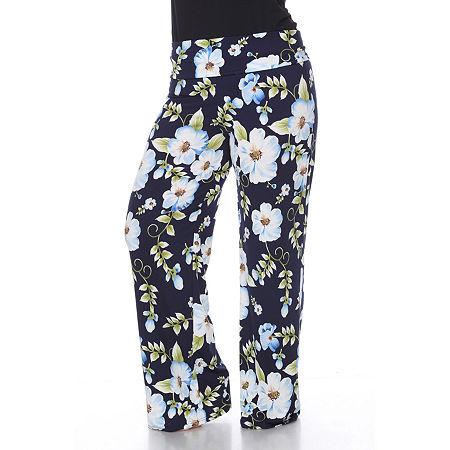 White Mark Womens Mid Rise Wide Leg Palazzo Pant-Plus, 3x , Blue