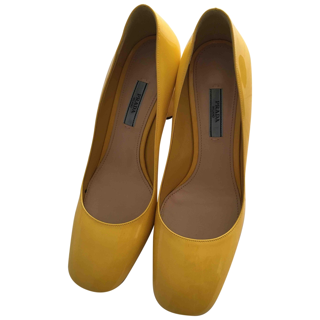 Prada \N Yellow Patent leather Heels for Women 38 EU