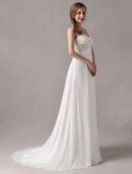 Milanoo Vestidos de novia sencillos ajustada Vestidos de novia Blanco sin tirantes cintura tipo imperio con lentejuela de chifon con escote en corazon