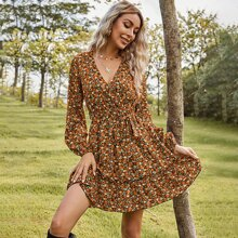 Allover Floral Print Ruffle Hem Belted Dress
