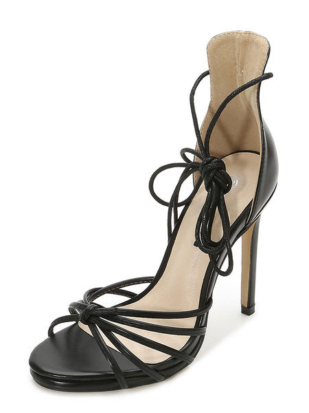 Milanoo High Heel Sandals Womens Lace Up Open Toe Stiletto Heel Sandals
