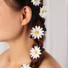 6pcs Daisy Decor Hair Clip