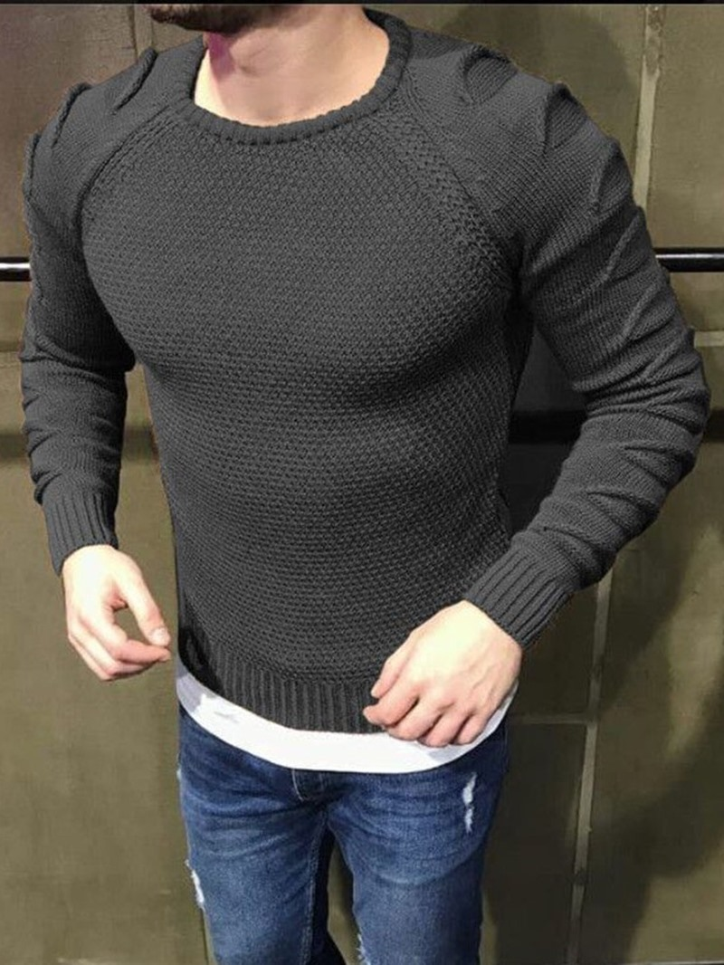 Ericdress Plain Round Neck Standard European Men's Slim Sweater