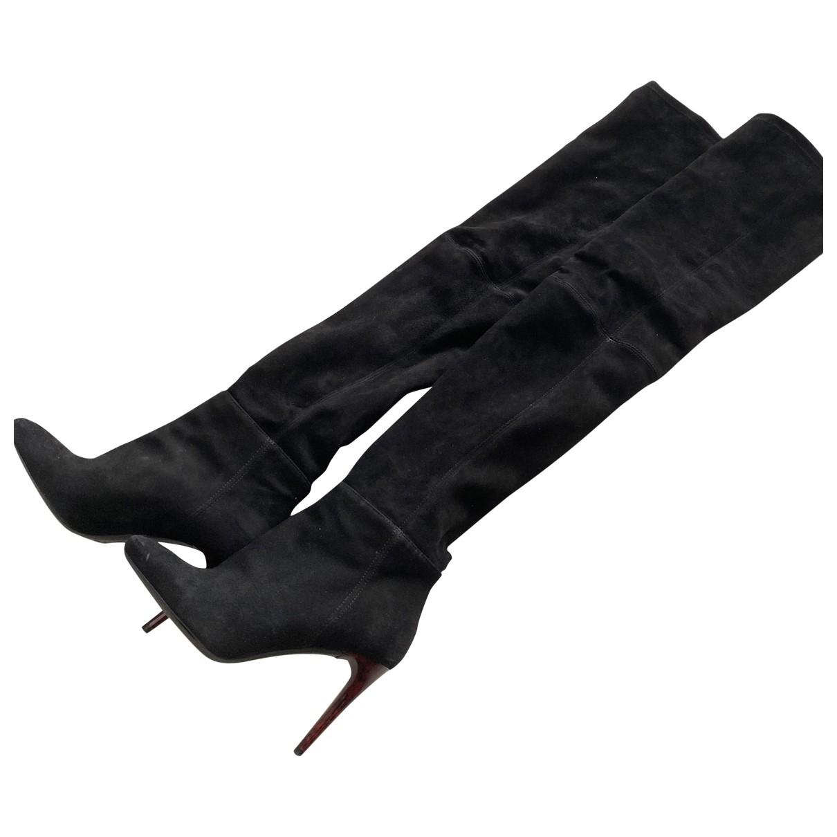 Balmain For H&m \N Stiefel in  Schwarz Veloursleder