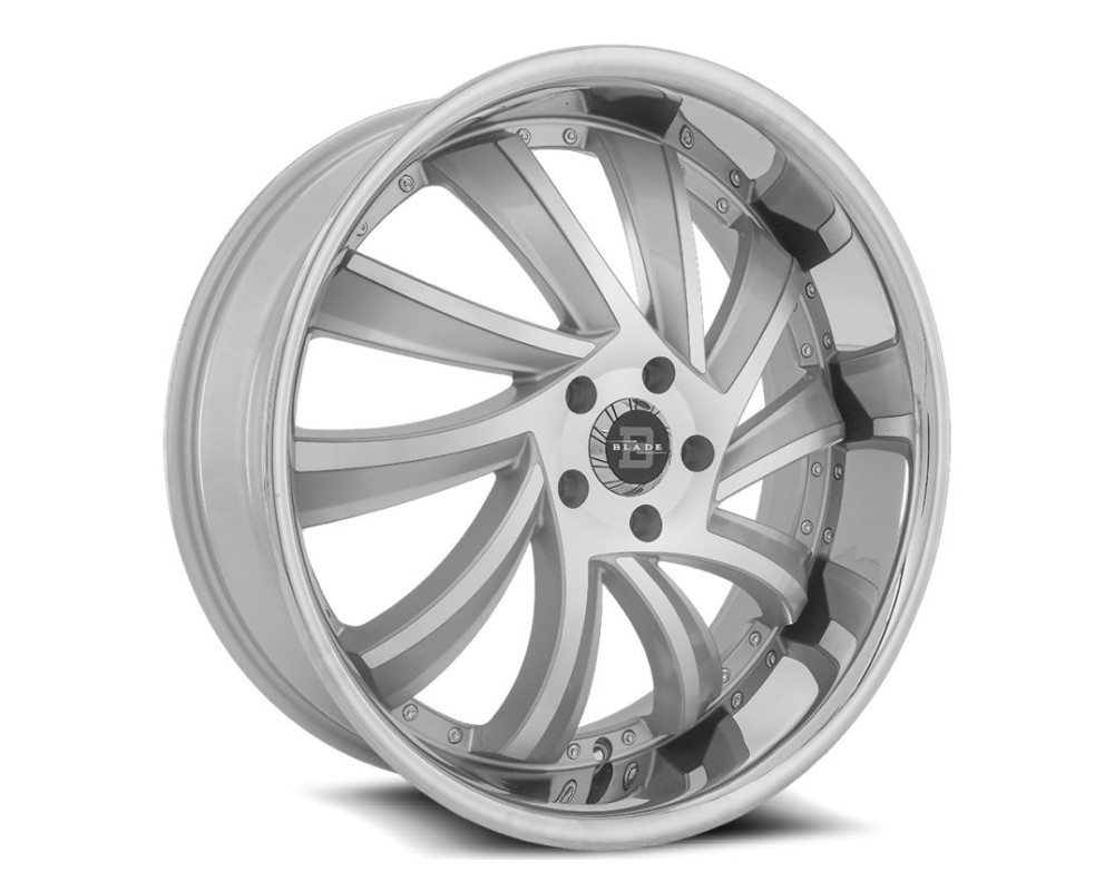 Blade BSL-476 Sliced Wheel 22x9.5 5x115 15mm Silver Machined w/ Stainless Lip