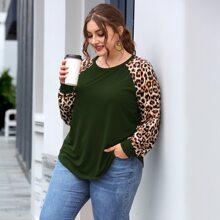 Plus Leopard Colorblock Curved Hem Tee