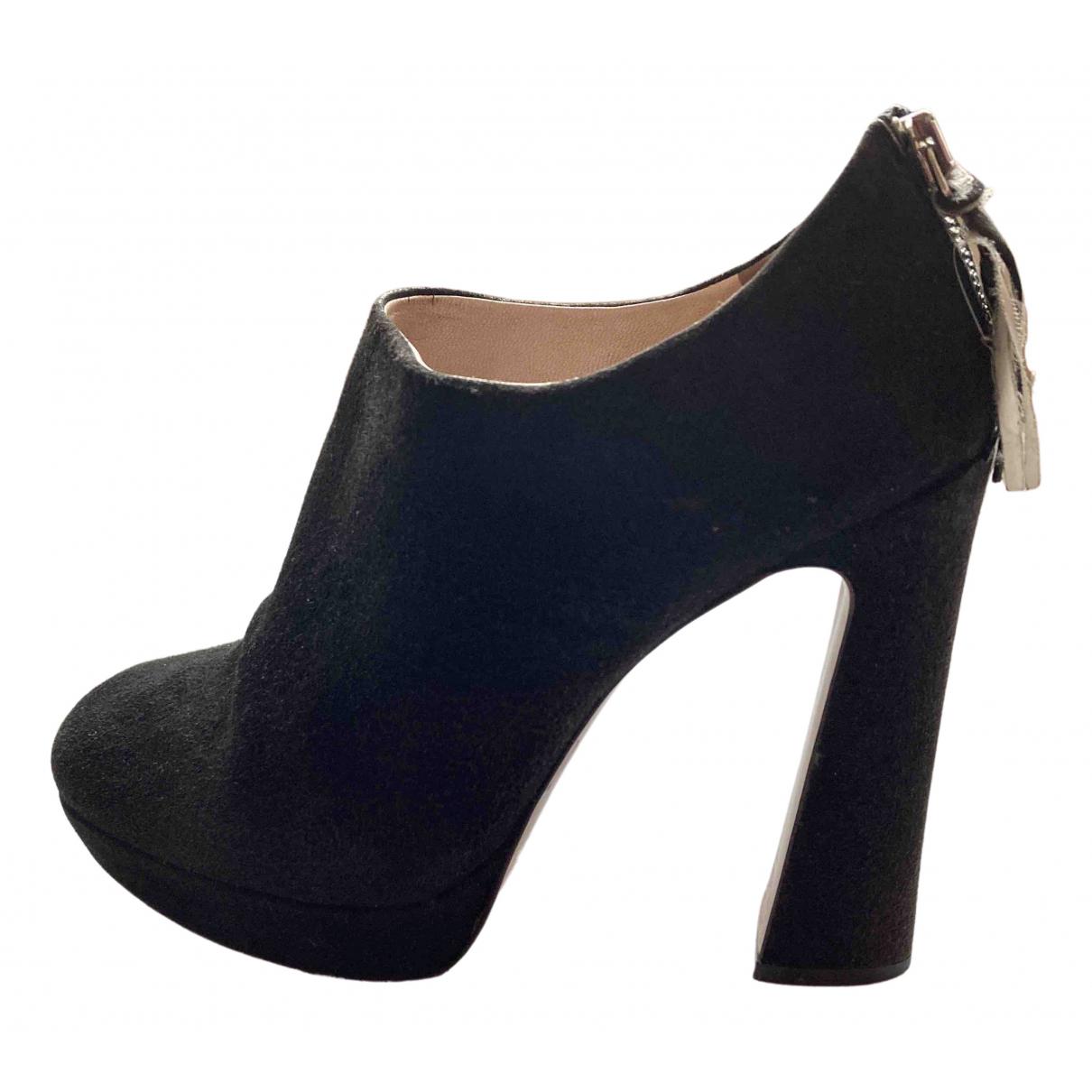 Miu Miu \N Black Suede Ankle boots for Women 40 EU