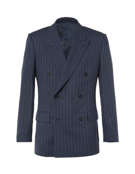 kingsman harrys pinstriped blue Double Breasted Wool suit