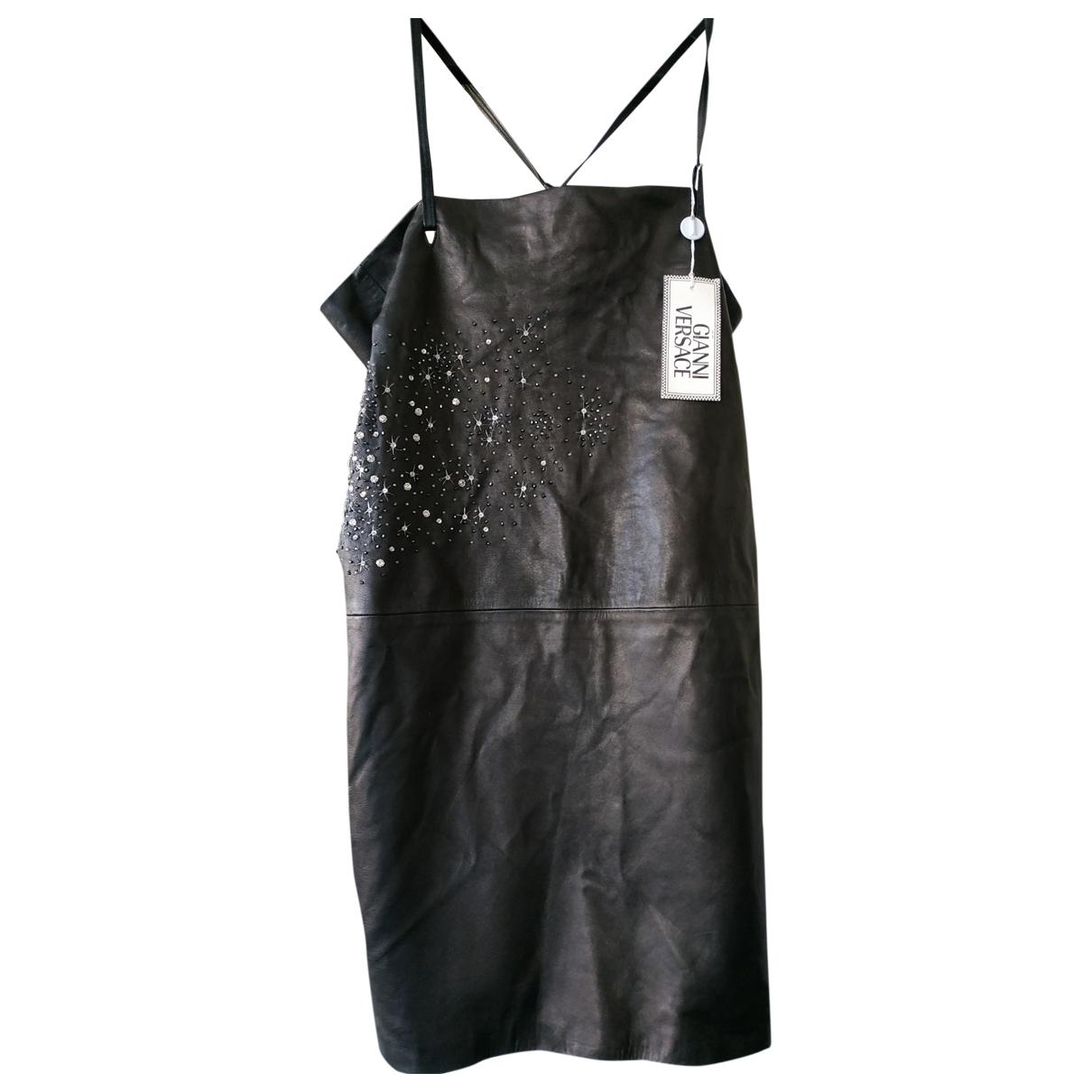 Gianni Versace - Robe   pour femme en cuir - noir