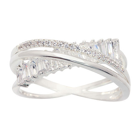 Sparkle Allure Cubic Zirconia Pure Silver Over Brass Crossover Cocktail Ring, 7 , No Color Family