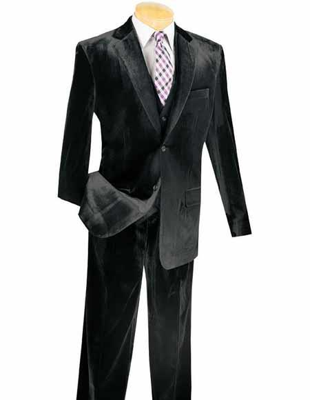 Mens Notch Lapel Single Breasted 3 Piece Black Velvet Vested Suits