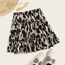 Leopard Print Lettuce-Edge Mini Skirt