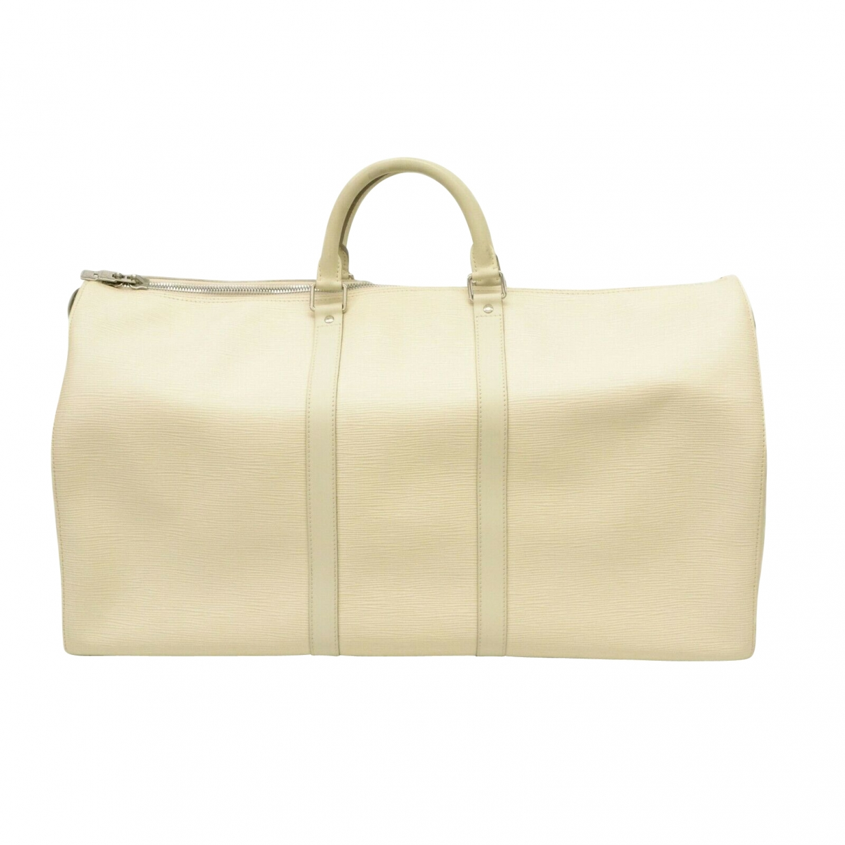 Louis Vuitton Keepall Reisetasche in  Weiss Leder
