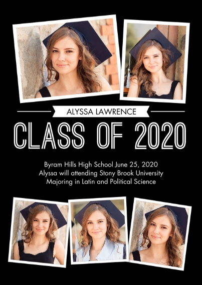 2020 Graduation Announcements Flat Matte Photo Paper Cards with Envelopes, 5x7, Card & Stationery -Graduate Snapshots 2020 by Tumbalina