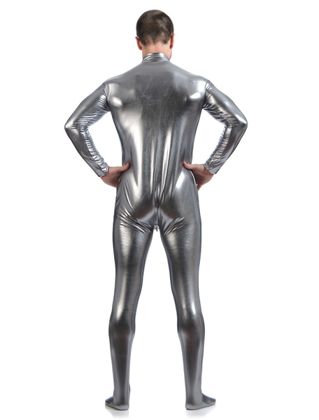 Milanoo Gray Adults Bodysuit Cosplay Jumpsuit Shiny Metallic Catsuit for Men