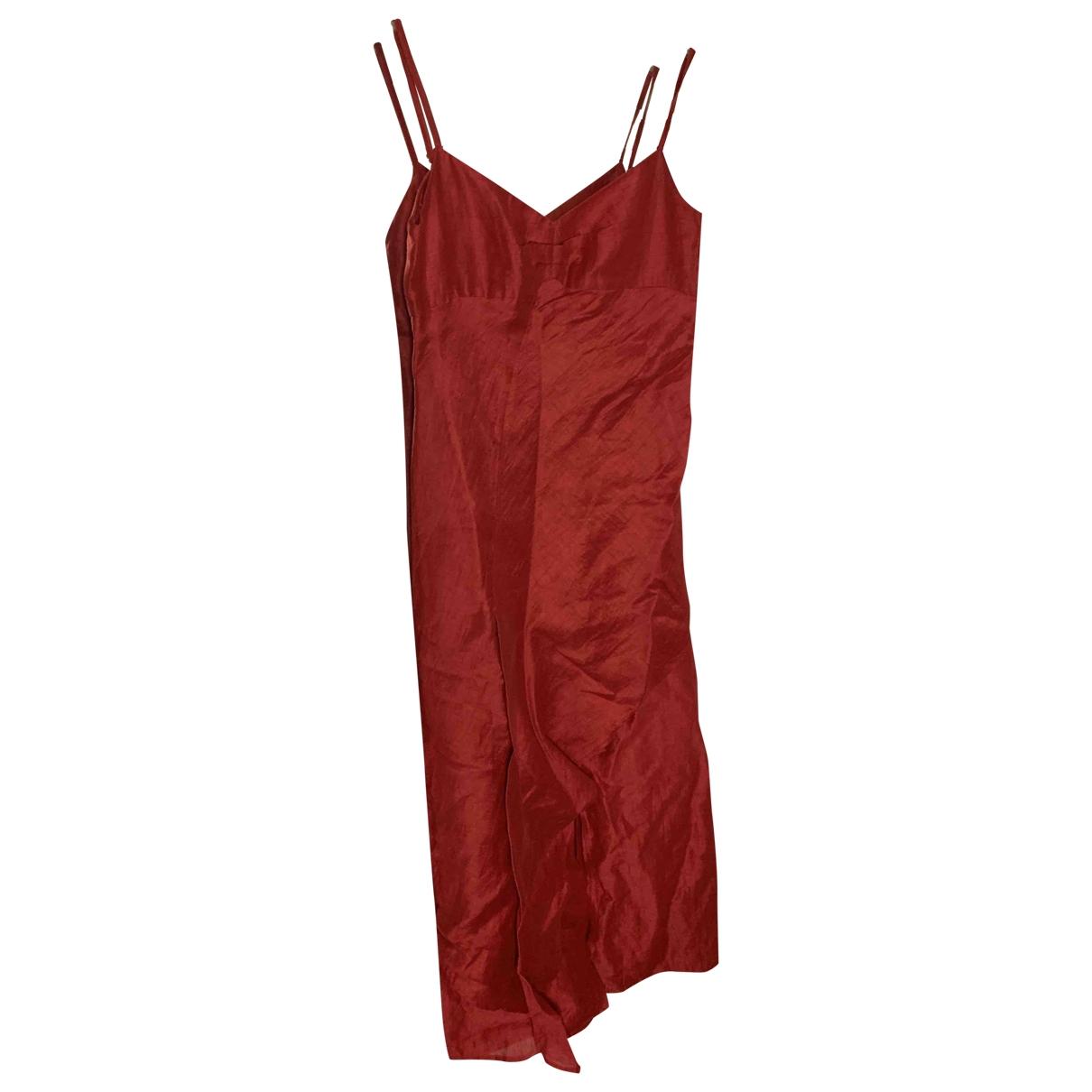 Zapa \N Kleid in  Rot Leinen