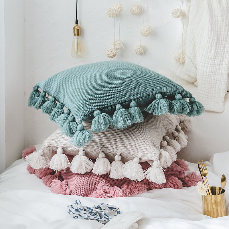 Nordic Style Knitted Fringed Lantern Ball Throw Pillowcase Solid Color Throw Pillow Case Home