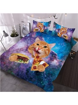 Kitten Eating Pizza And Hot Dog In The Purple Galaxy Printed 3-Piece Comforter Sets