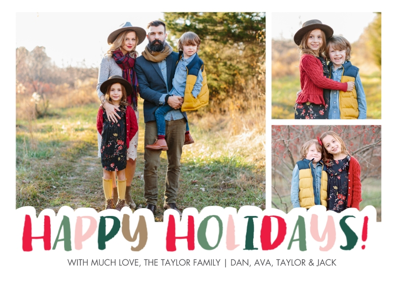 Holiday Photo Cards Flat Matte Photo Paper Cards with Envelopes, 5x7, Card & Stationery -Holiday Cheerful Letters by Tumbalina