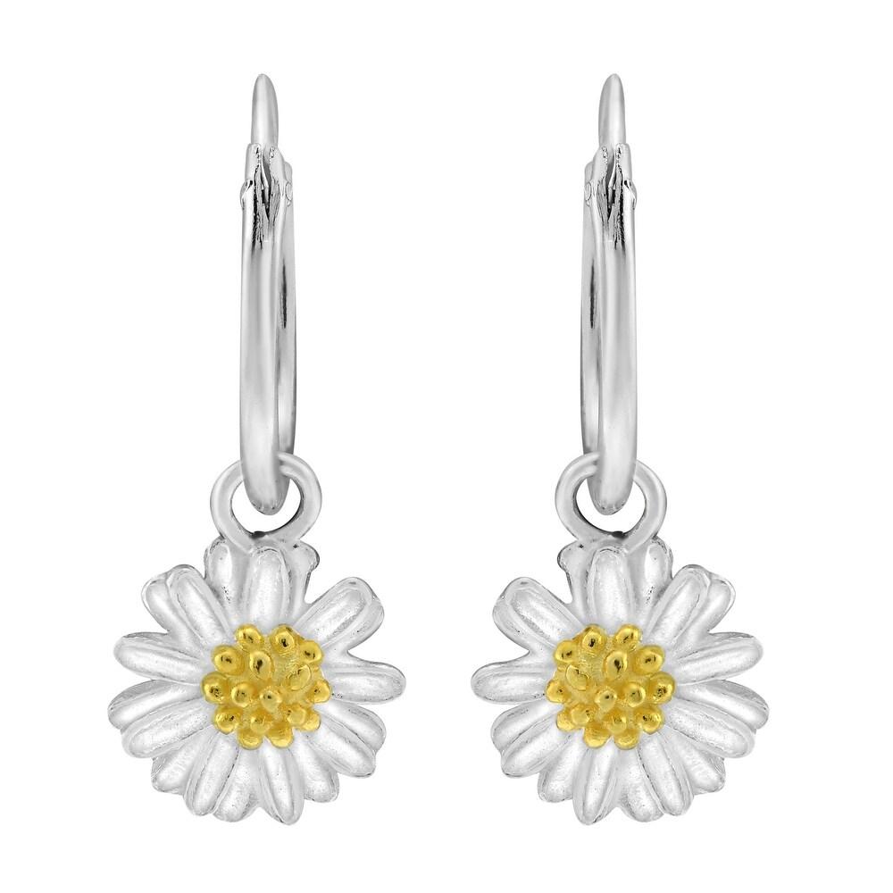 Handmade Alluring Chamomile Flower .925 Brushed Sterling Silver Hoop Earrings (Thailand) (White)
