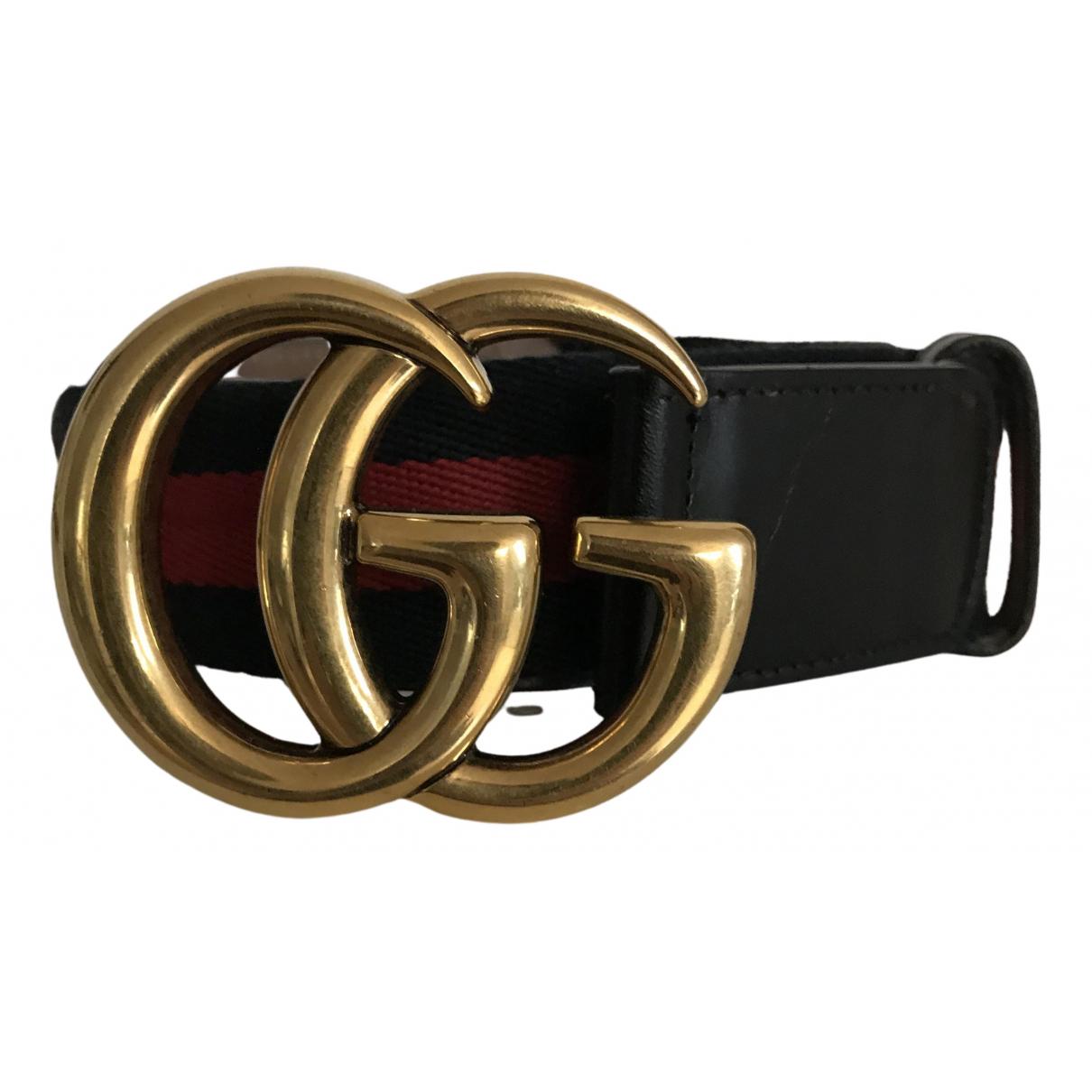 Gucci GG Buckle Guertel in  Schwarz Leinen