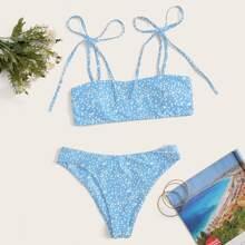 Bañador bikini de hombro con cordon floral de margarita