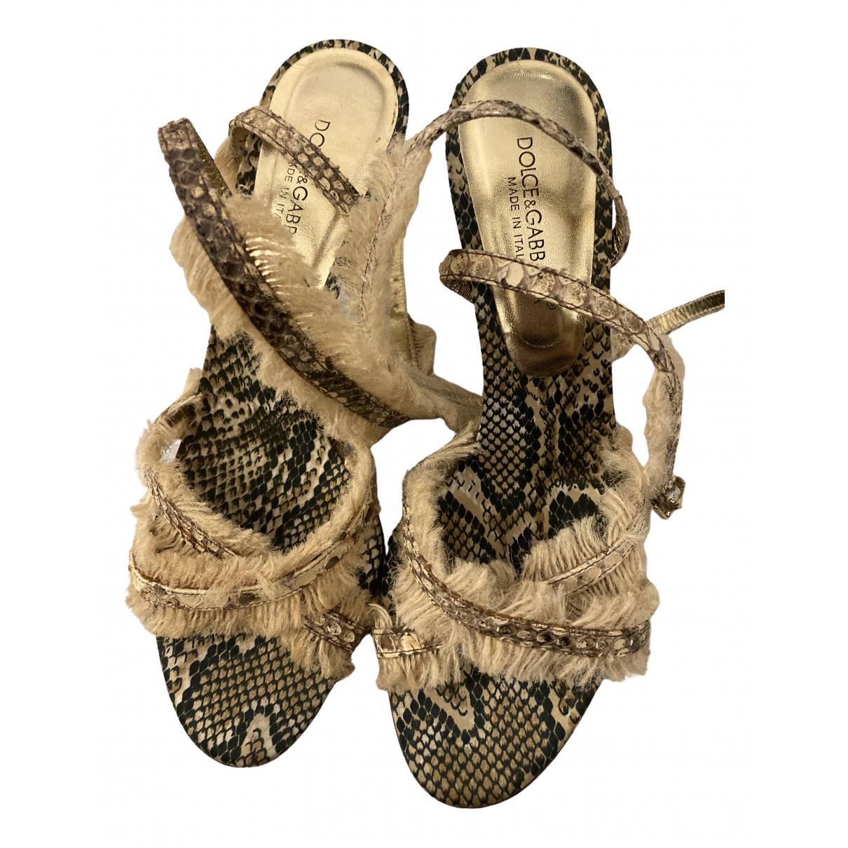 Dolce & Gabbana N Beige Leather Sandals for Women 36 EU