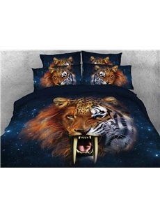 Smilodon Tiger Lion Leopard Printed 4-Piece 3D Galaxy Bedding Sets/Duvet Covers