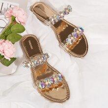 Clear Gemstone Decor Slide Sandals