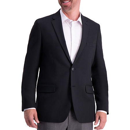 Haggar Active Series Solid Gab Tailored Fit Blazer Mens Sport Coat, 48 Regular, Black