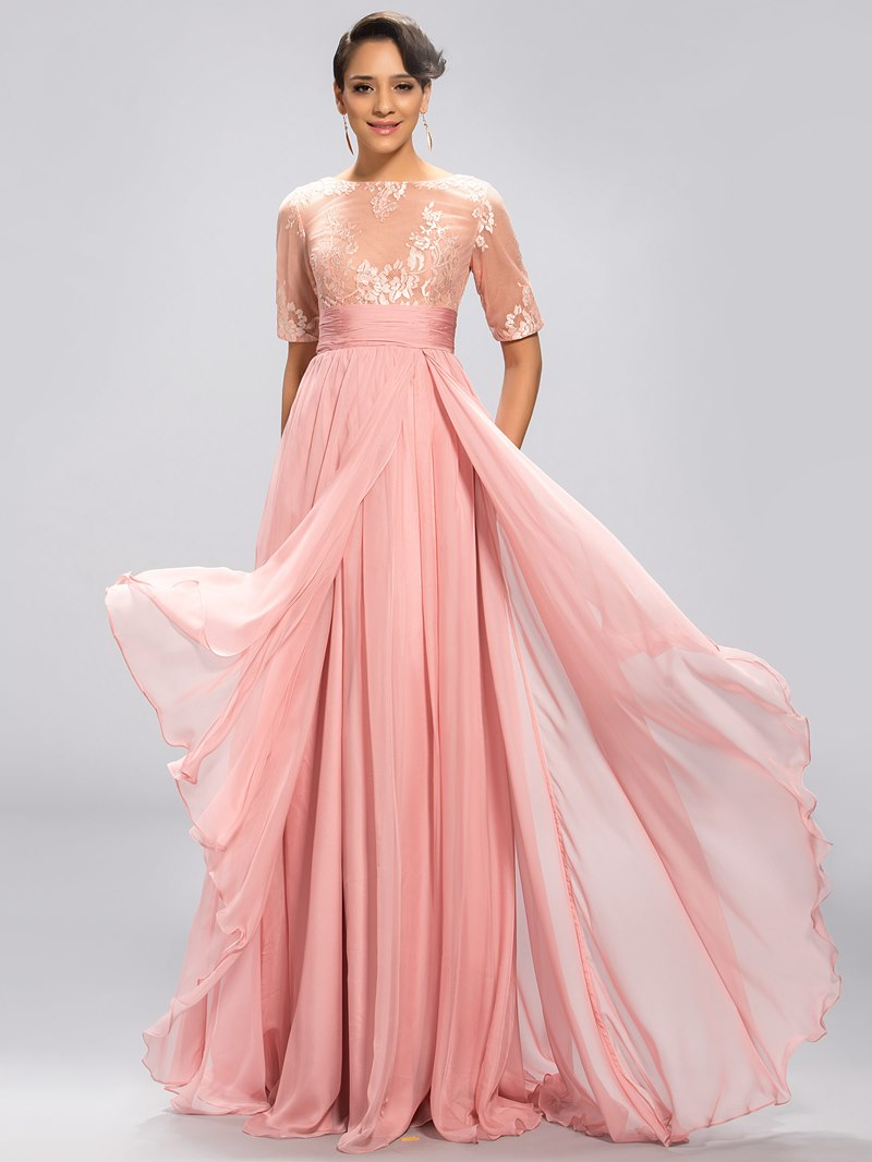 Classy Half Sleeves A Line Floor-Length Evening Dress