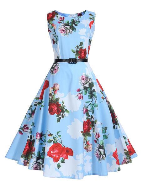 Milanoo Women Vintage Floral Dress 1950s Round Neck Sleeveless Light Sky Blue Swing Dresses