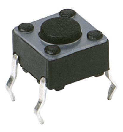 C & K IP40 Black Button Tactile Switch, Single Pole Single Throw (SPST) 50 mA 3.5 (Dia.)mm Through Hole (20)