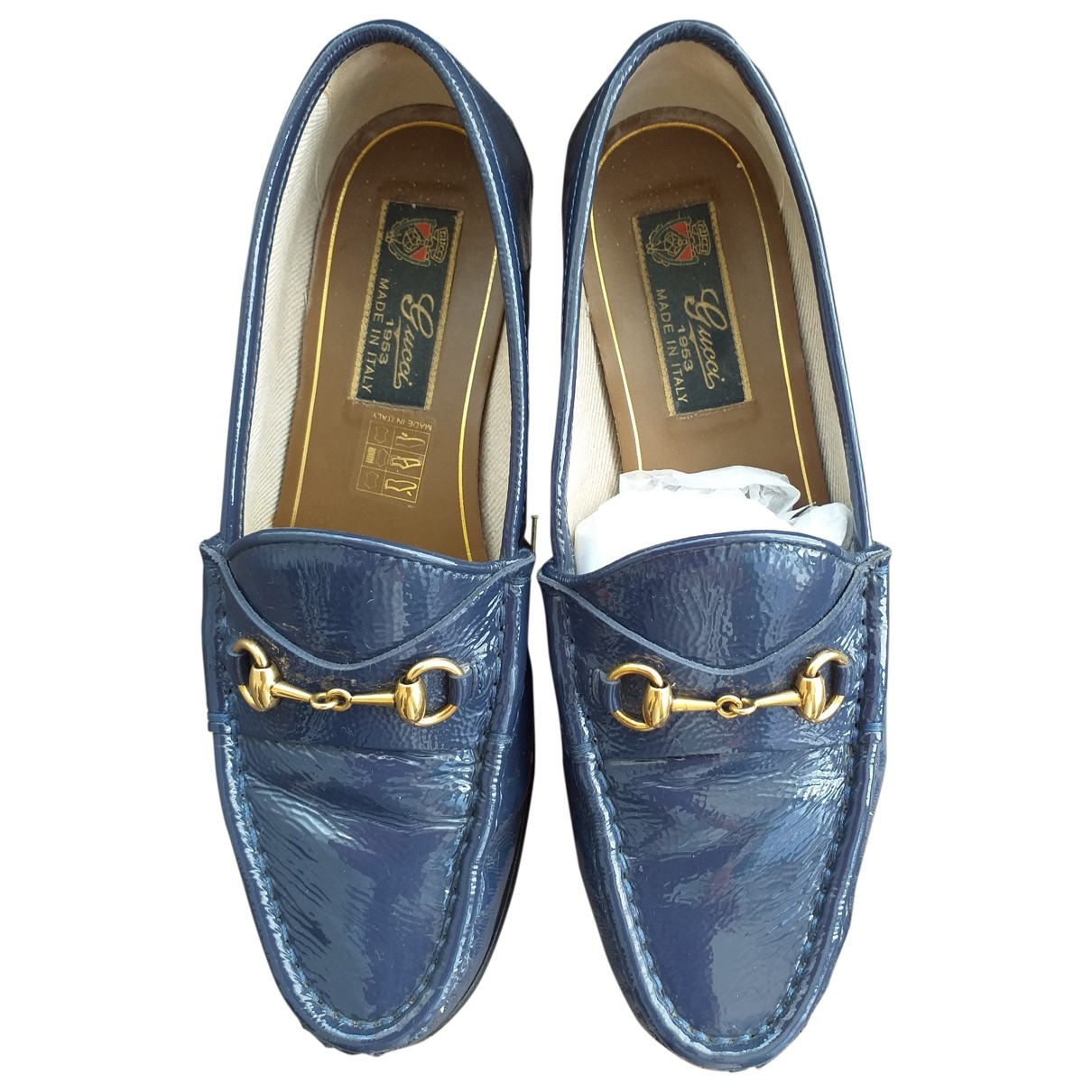 Gucci \N Blue Patent leather Flats for Women 36 EU