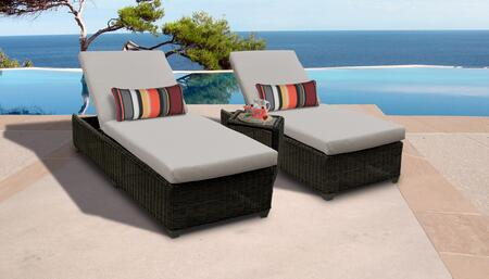 Venice Collection VENICE-2x-ST-BEIGE Patio Set with 2 Chaises   1 Side Table - Wheat and Beige