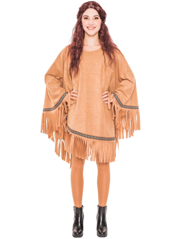 Damen-Kostuem Poncho Indianer braun mit Fransen Grosse: One Size