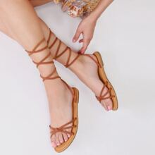 Cinched Open Toe Strappy Wrap Flat Sandals