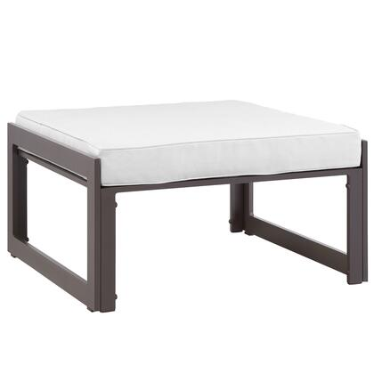 Fortuna Collection EEI-1521-BRN-WHI 30 Outdoor Patio Ottoman with Powder Coated Aluminum Frame  Washable Cushion Cover  UV and Water Resistant in