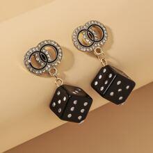 Rhinestone Dice Drop Earrings