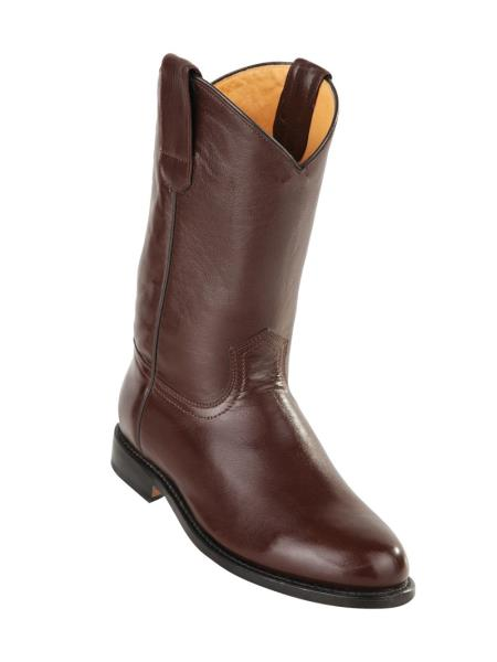 Men's Original Deer Leather Brown Pull On Roper Leather Sole Boots