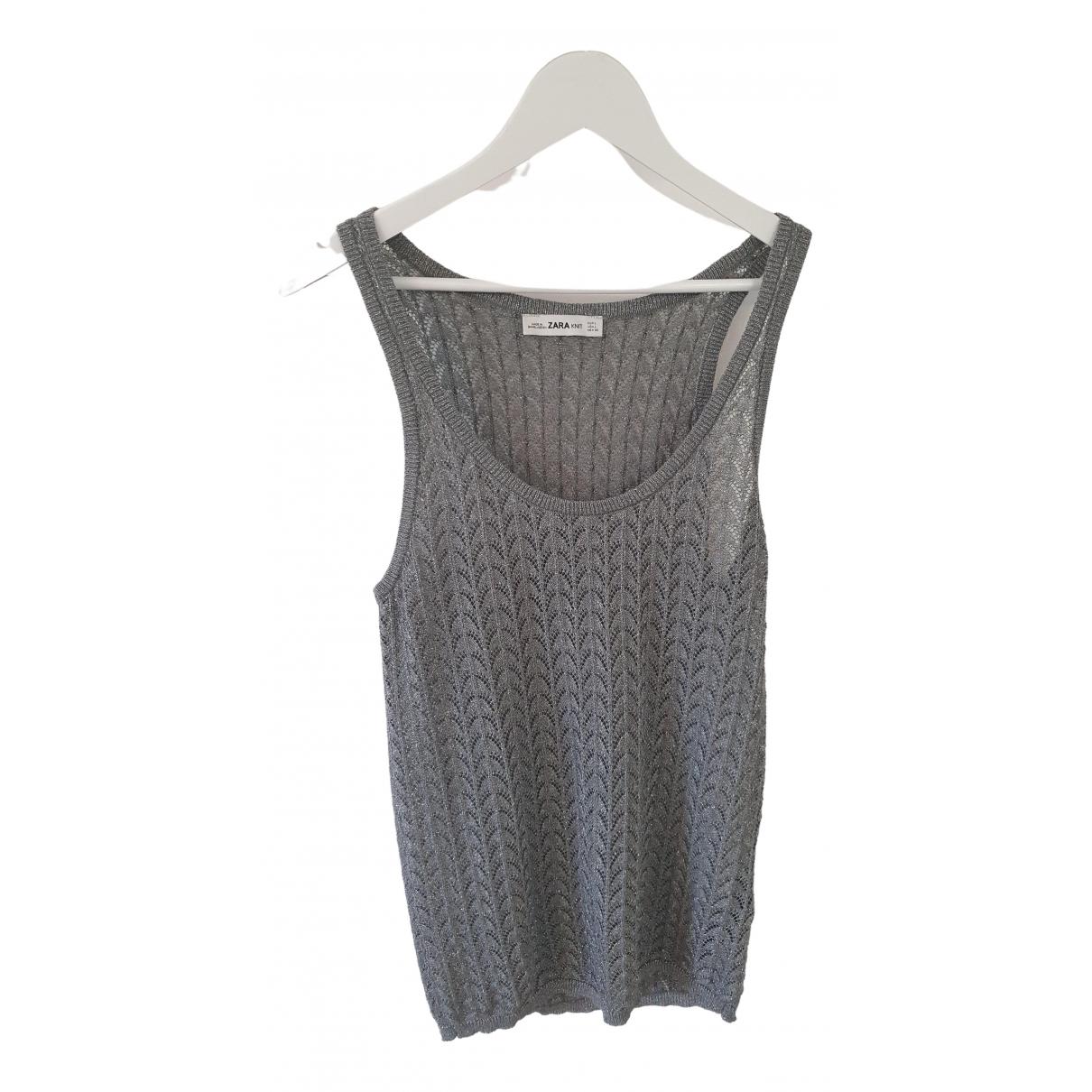 Zara - Top   pour femme - argente