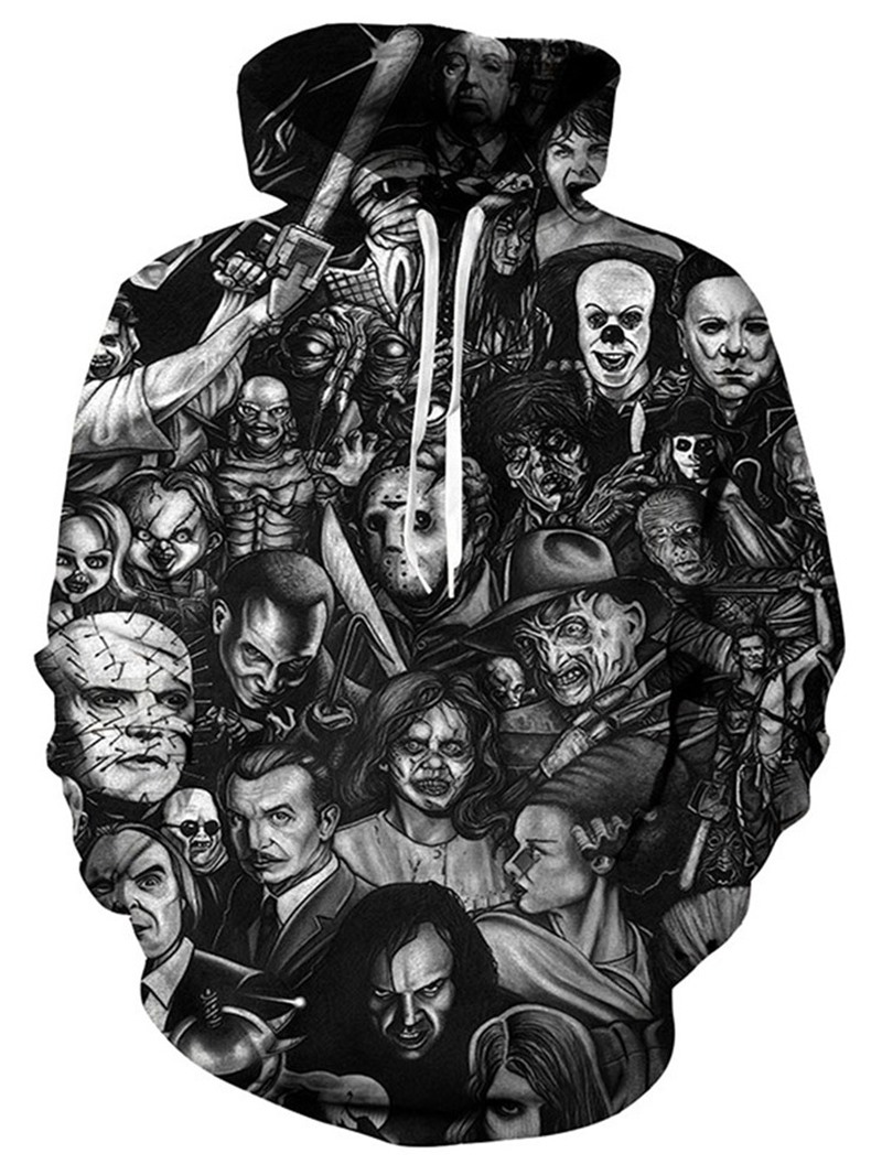 Ericdress Print Skull Pullover Fall Casual Hoodies