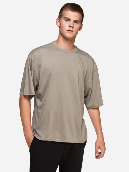 Yoins Camel Solid Color Crew Neck Short Sleeve Basic Style Men's T-Shirt
