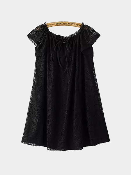 Yoins Tie-neck Lace Mini Dress in Black