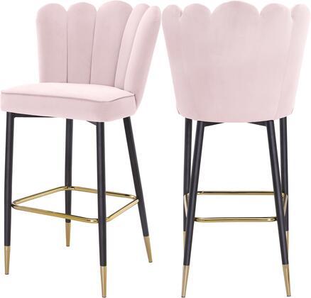 961PINK-C Lily Pink Velvet Stool (Set of