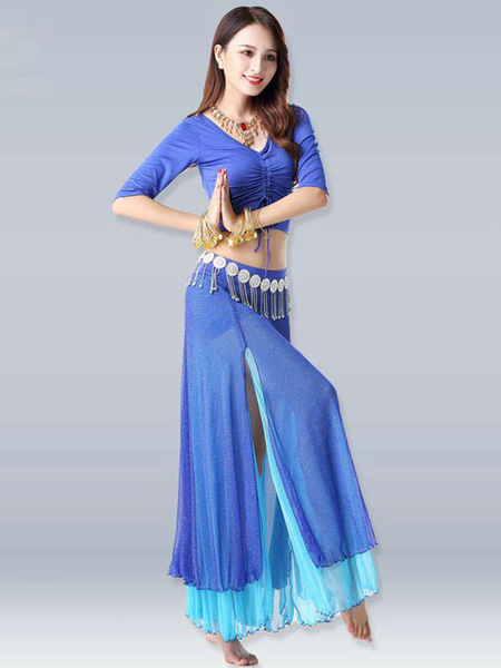 Milanoo Belly Dance Costumes Royal Blue High Slit Belly Ruffle V Neck Drawstring Dance Wear For Women Halloween
