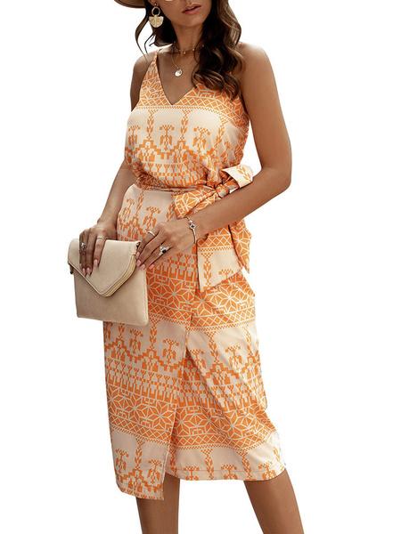 Milanoo Summer Dresses Straps Neck Printed Lace Up Orange Medium Sundress
